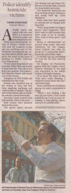 Scanned Calgary Herald Article